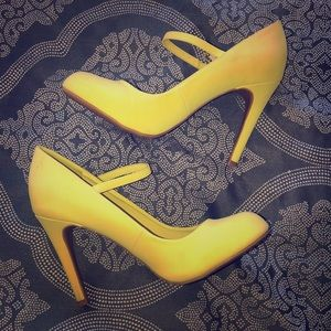 Mary Jane Style Neon Yellow Pumps